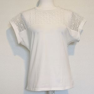 Shein Curve Whute Sheer Lace Shoulder Boxy Tee